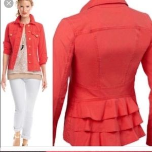 Cabi coral red jacket size m necklace included EUC